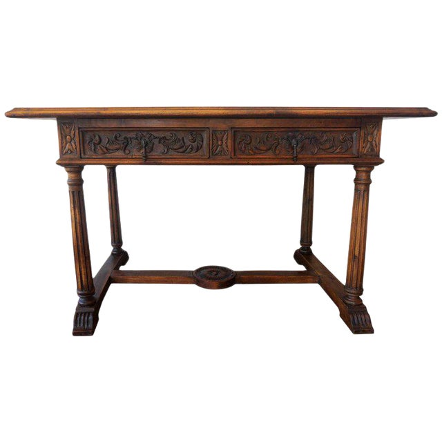 19th Spanish Refectory Table with Two Drawers, Desk Table - Image 1 of 9