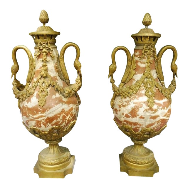 1950s French Rouge Marble Urns With Bronze Swan Heads and Mounts - a Pair For Sale