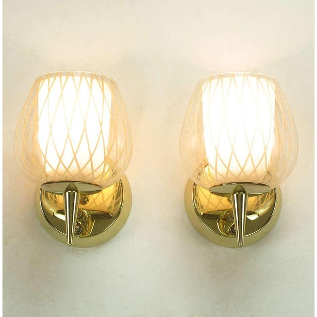 Lightolier Pair of Gerald Thurston for Lightolier Etched Glass and Brass Sconces For Sale - Image 4 of 11