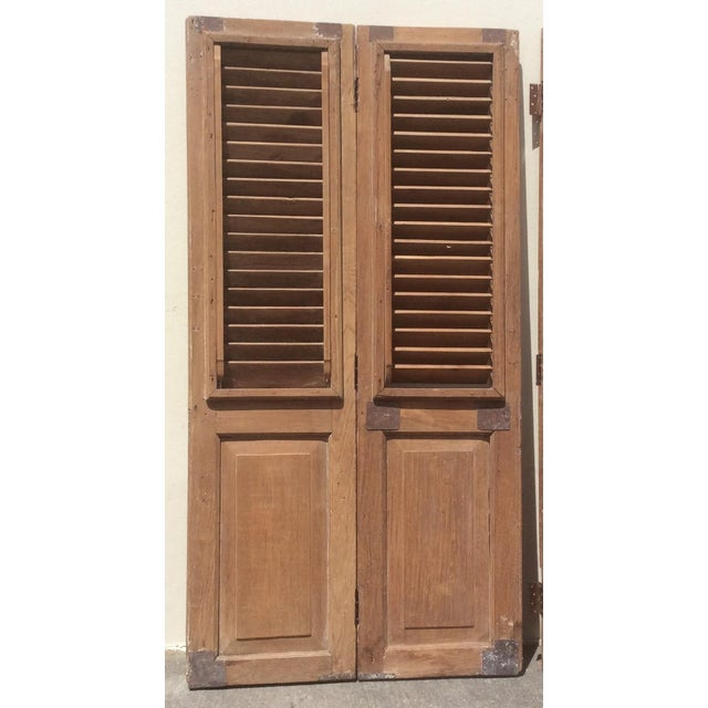 Pair of Heavy Rustic Antique Wood Shutters For Sale - Image 9 of 9