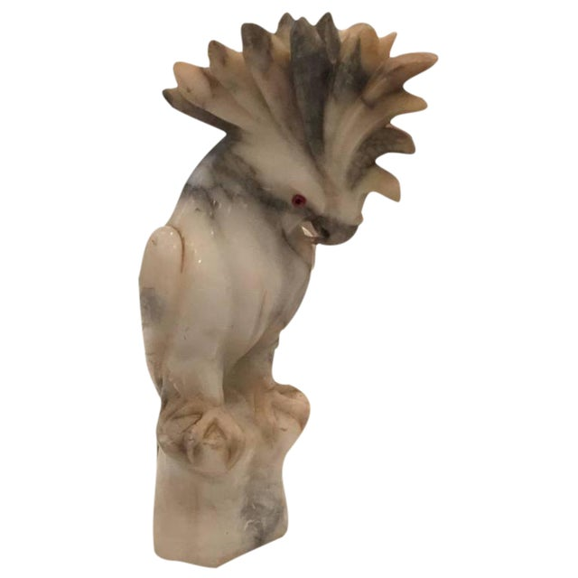 French Art Deco Alabaster Cockatoo Sculpture - Image 1 of 8