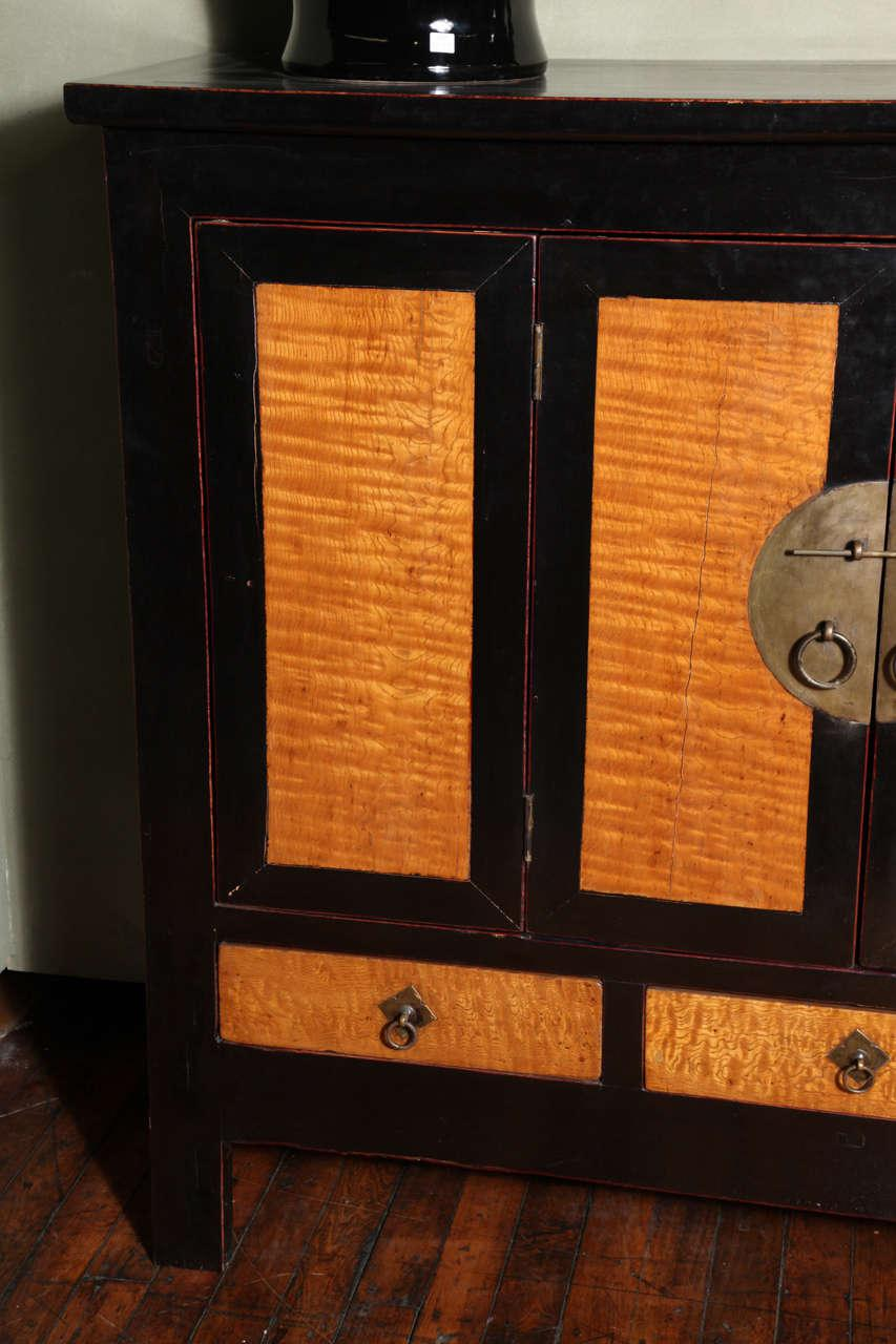 Late Qing Dynasty Black Lacquer And Burl Wood Cabinet With Accordion Doors    Image 3 Of