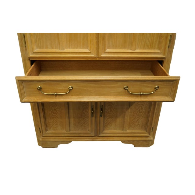 """Wood Stanley Furniture Pickled Oak 42"""" Door Chest/Armoire For Sale - Image 7 of 13"""