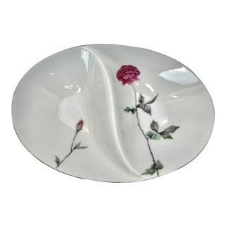 Sango China Tea Rose Divided Serving Bowl For Sale