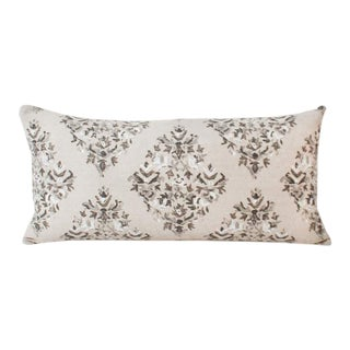 Large Taupe Batik Lotus Blocked Lumbar Pillow For Sale