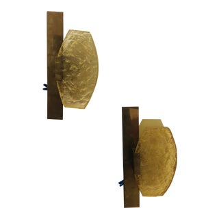 1960s Resin and Brass Sconces - a Pair For Sale