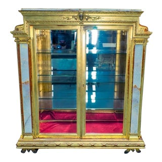 20th Century French Pottier & Stymus Onyx & Giltwood Vitrine For Sale