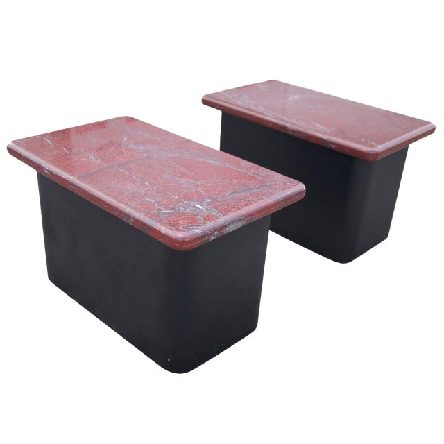 Pair of Red Marble and Wood Side End Tables For Sale