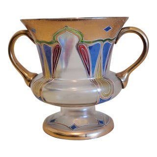 1920s Glass and Paint Art Deco Vase/Bowl For Sale