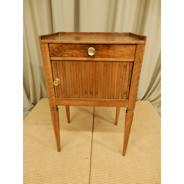 Metal 19th Century French Walnut Tambour Front Side Table For Sale - Image 7 of 7
