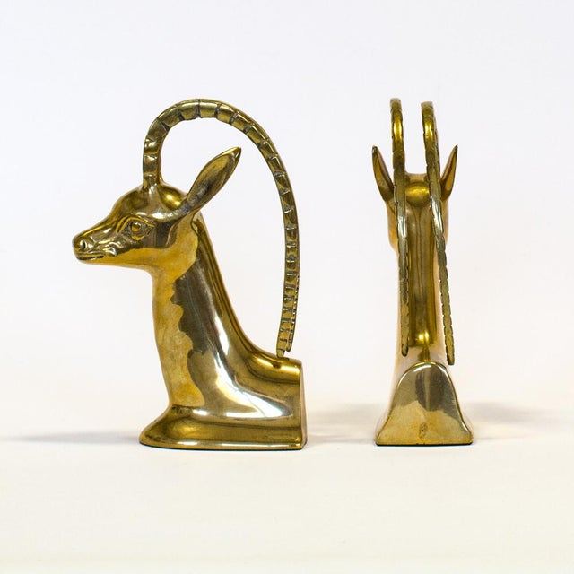 Brass Ibex Bookends - A Pair - Image 5 of 7