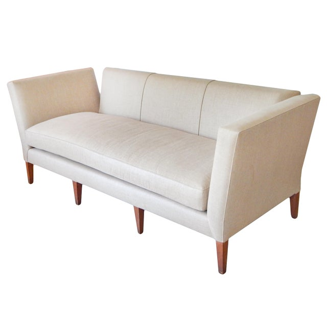 Knole style sofa beautifully re-upholstered in waxed linen.