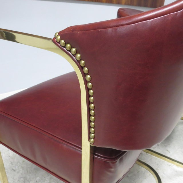 Mid-Century Modern Art Deco - Mid Century Lounge Chairs – Polished Brass – Leather For Sale - Image 3 of 9