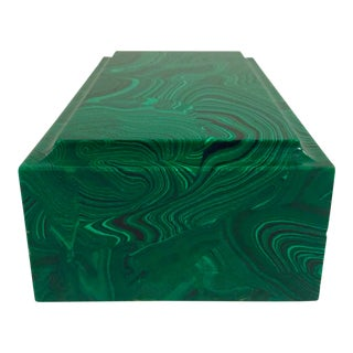 1980s Vintage Hollywood Regency Malachite Paperweight For Sale