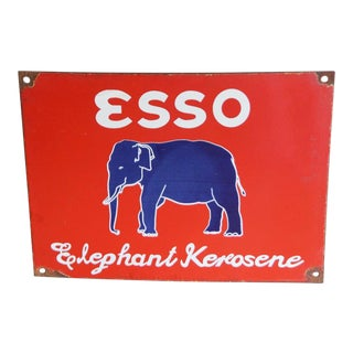 Vintage Esso Elephant Kerosene Sign For Sale