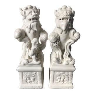Italian Blanc De Chine Foo Lions-Statues/Bookends-A Pair For Sale