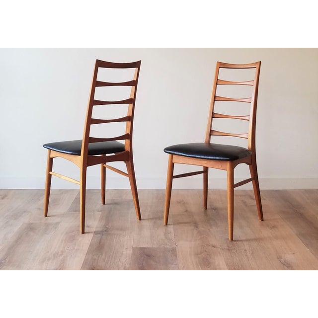 1960s Niels Kofoed for Koefoeds Hornslet Newly Upholstered Teak Ladder Back Dining Chairs - a Pair For Sale - Image 13 of 13