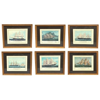1950s Vintage Framed Clipper Ships of America Prints - Set of 6 Gallery Nautical Wall Art For Sale
