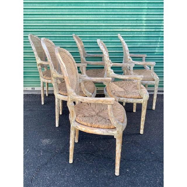 William Switzer 1960's Vintage Louis XVI Faux Bois Branch Form Cane Back Rush Seat Dining Chairs -Set of 6 For Sale - Image 4 of 13