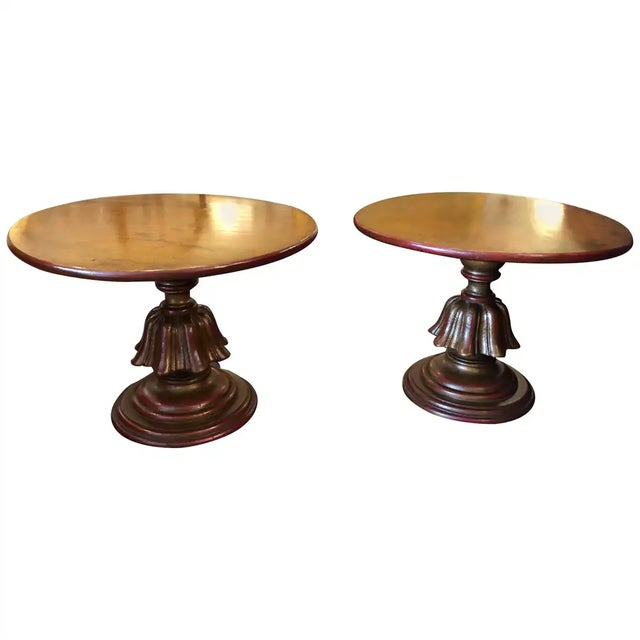 Wood Warmly Gilded Round End Tables-A Pair For Sale - Image 7 of 7