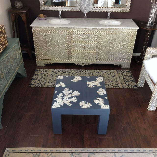 Modern Blue Coffee Table With Mother of Pearl Inlay For Sale - Image 4 of 12