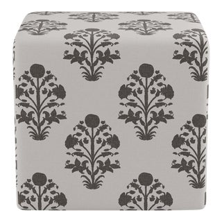 Cube Ottoman in Garden In Ink For Sale