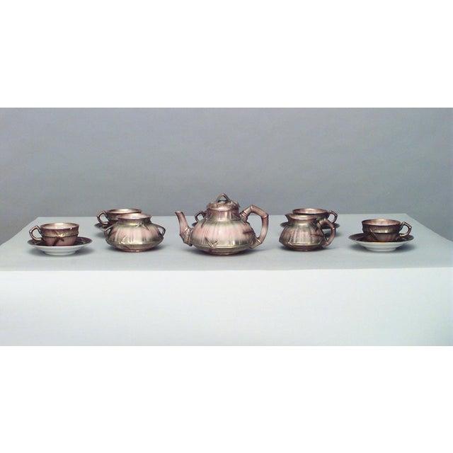 Tan English Victorian Beige Porcelain and Gilt 13 Piece Tea Set For Sale - Image 8 of 8