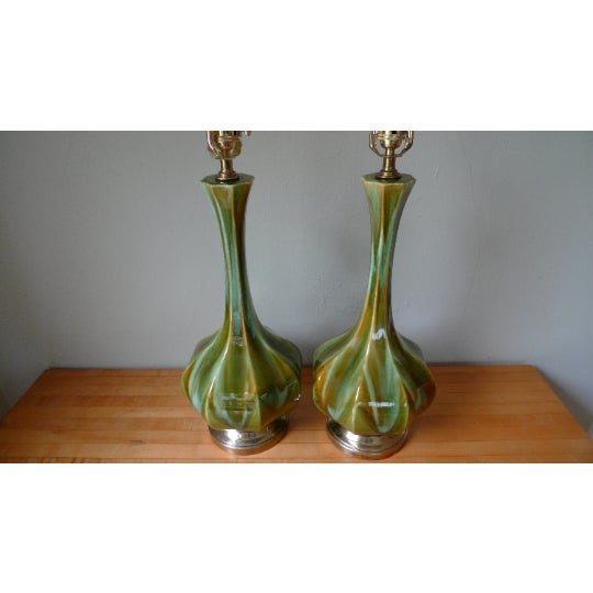 Table Lamps (Pair) Mid-Century Tapered Blown Glass in Murano Style Swirl of Colors For Sale In Madison - Image 6 of 11