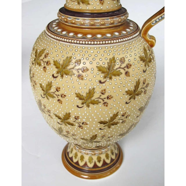Mid 19th Century Good Quality Pair of German Mettlach Pottery Ewers With Impressed Maker's Mark For Sale - Image 5 of 8
