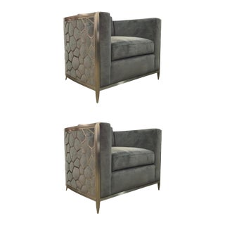Caracole Modern Charcoal Velvet Ice Breaker Club Chairs Pair For Sale