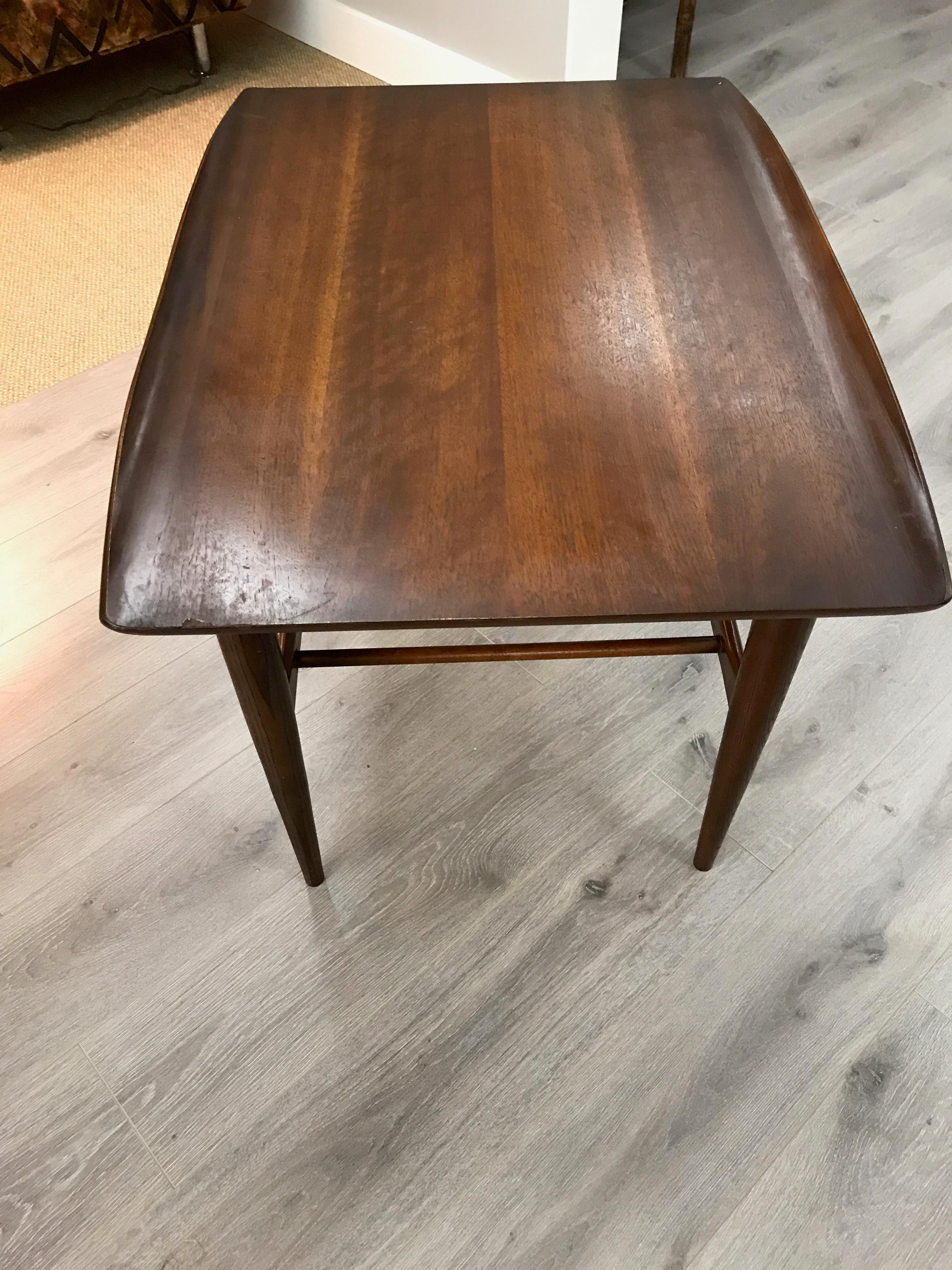 surfboard furniture. Vintage Bassett Furniture Industries IN Danish Inspired Wood Surfboard Style Side Table - Image 5 Of A