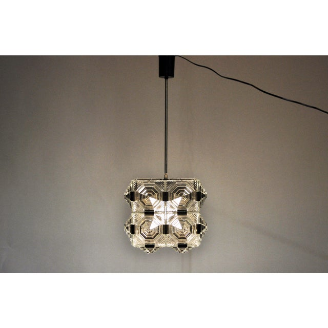 Abstract Czech Cast Glass Ceiling Lamp For Sale - Image 3 of 13