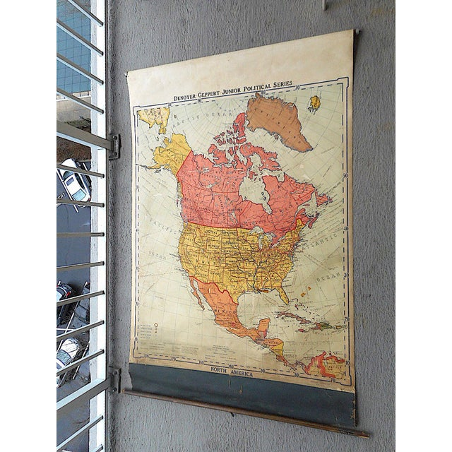 Large Roll-Up Vintage Mid Century School Map-North America | Chairish