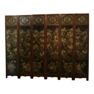 A Chinese Hardwood, Lacquer and Jade Six Panel Screen For Sale