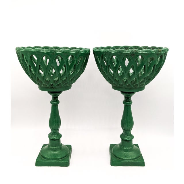 Metal Large 20th Century Green Cast Iron Compotes - a Pair For Sale - Image 7 of 10