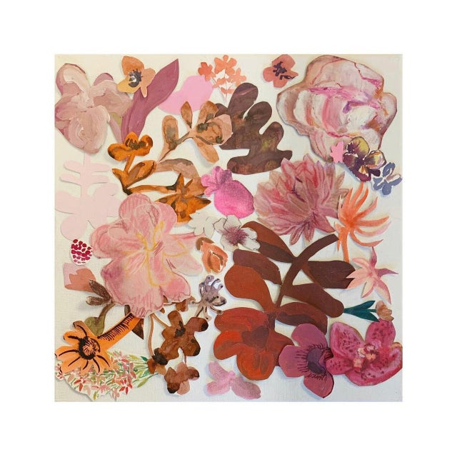"""This Hayley Mitchell collage painting, titled """"Floral Collage 7"""", is an original collage painting on thin stretched..."""