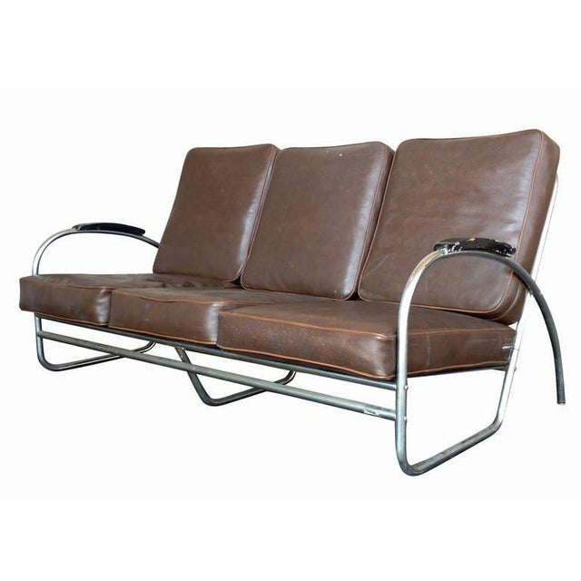 Wolfgang Hoffmann Style Chrome Tublar Sofa by Royal Metal - Image 4 of 9
