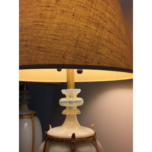 Mid-Century Modern Seguso Caged Murano Opaline Glass Marbro Lamps - a Pair For Sale - Image 3 of 11