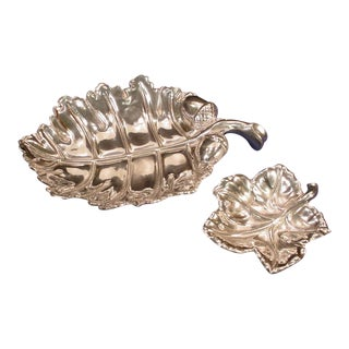1970's Bruce Fox Design Wilton Armetale Aluminum Oak Leaf Platter & Acorn Bowl Dishes - A Pair For Sale