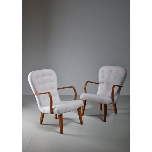 1940s Pair of Lounge Chairs With Curved Armrests, Denmark, 1940s For Sale - Image 5 of 5