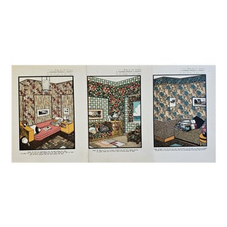 C1930 French Art Deco Interior Architecture Lithographs-Set of 3 For Sale
