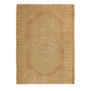 Late 19th Century Antique Kayseri Brown Beige Silk Rug- 4′4″ × 6′ For Sale