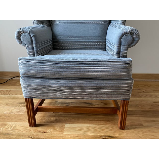 1970s 1970s Gray Stripe Wingback Chair For Sale - Image 5 of 9