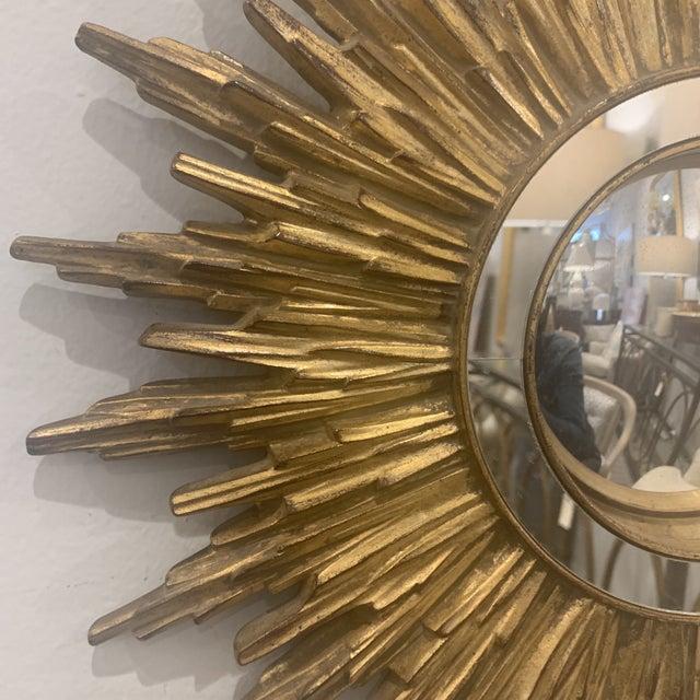 Anglo-Indian Hollywood Regency Gilded Sunburst Mirror For Sale - Image 3 of 13