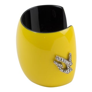 Christian Lacroix Runway Yellow Resin Cuff Bracelet For Sale