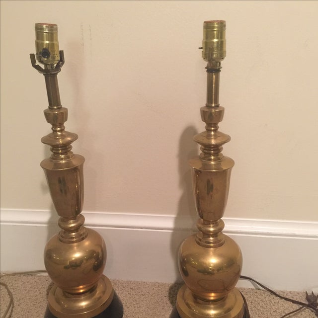 Vintage Brass Table Lamps - A Pair - Image 4 of 8