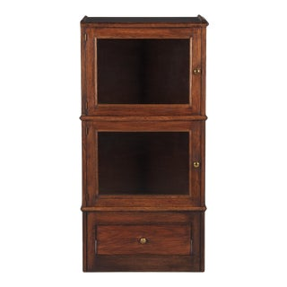 1940's French Oak Commercial Display Cabinet For Sale