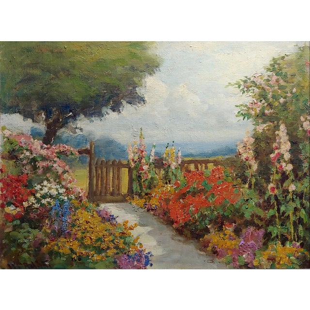 Cottage William Constable Adam-Beautiful Flower Garden With Gate -Oil Painting-1900s For Sale - Image 3 of 10
