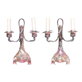 Pair of French Art Nouveau Silver Plate Double Arm Candelabra For Sale