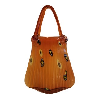 Vintage Murano Hand Blown Art Glass Hand Bag Purse Vase With Handles For Sale